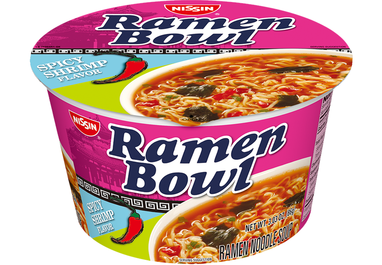 nissin ramen bowl spicy shrimp flavor