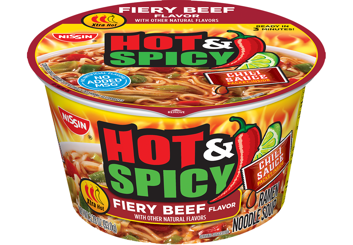 nissin bowl noodles hot and spicy fiery beef flavor