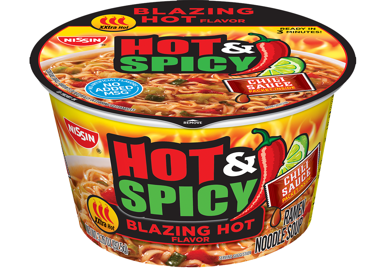 nissin bowl noodles hot and spicy blazing hot flavor