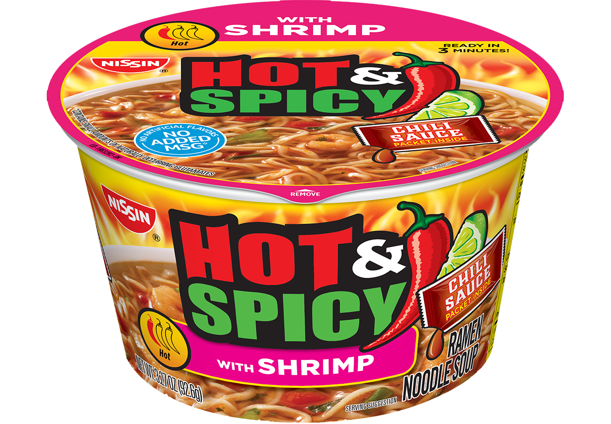 nissin bowl noodles hot and spicy shrimp flavor