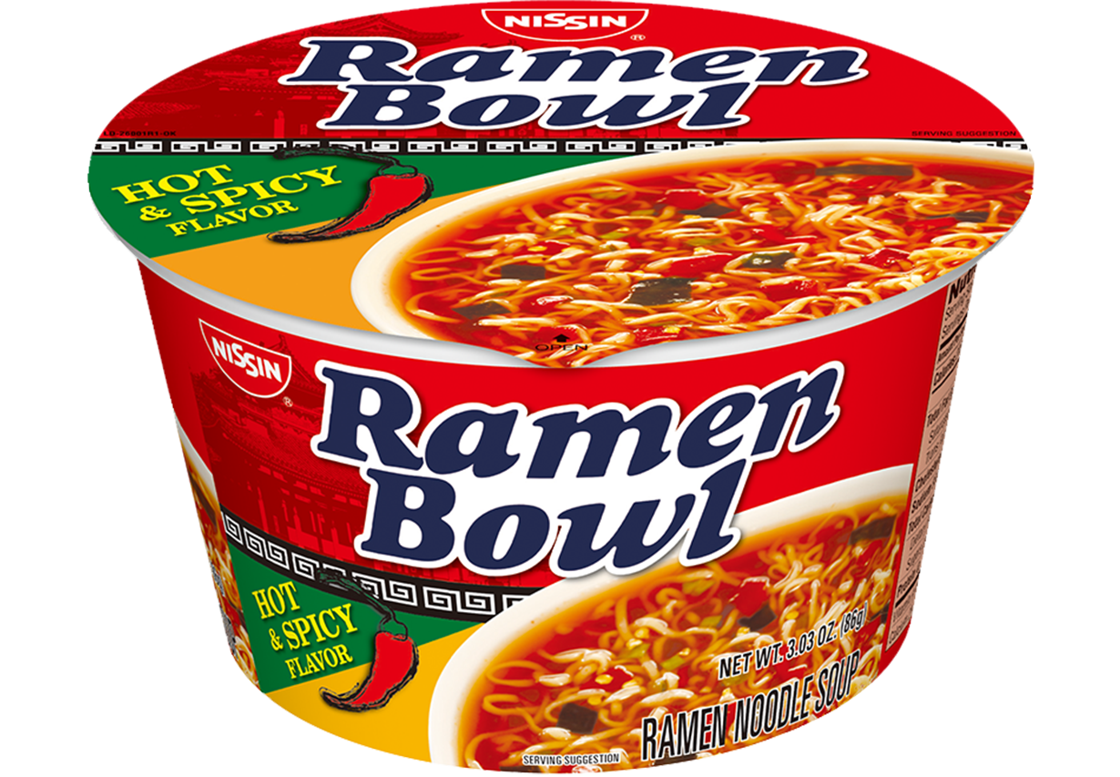 nissin ramen bowl hot and spicy flavor